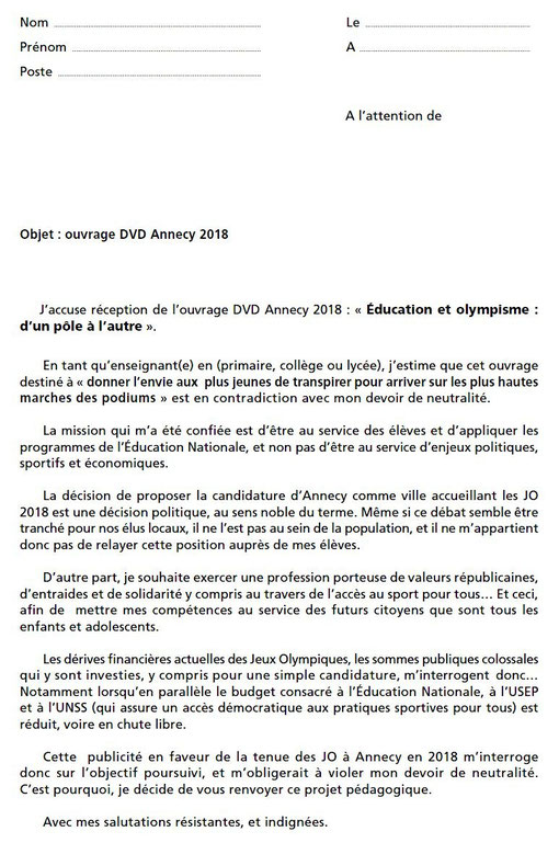 Lettre Enseignants - JO Annecy 2018