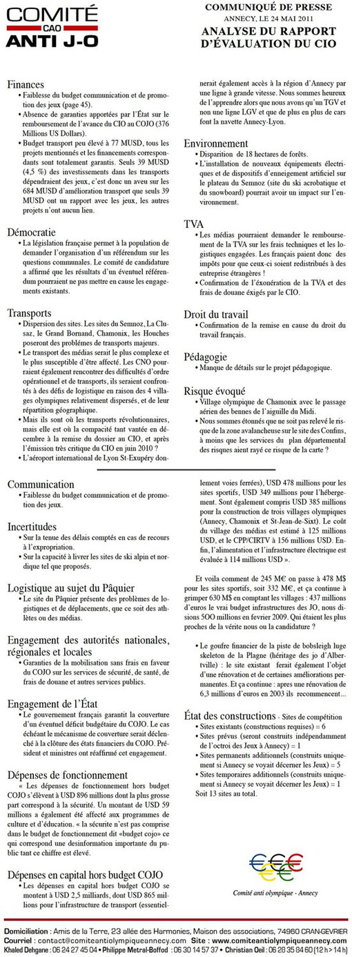 26 Mai 2011 - Analyse du rapport d'évaluation du CIO