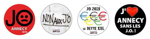 4 Badges CAO Anti JO Annecy 2018