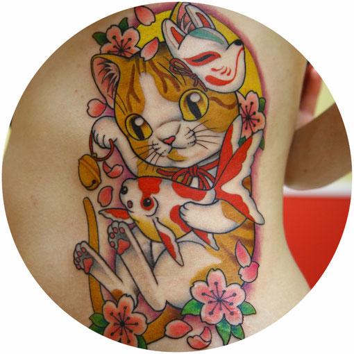 猫と金魚のタトゥー