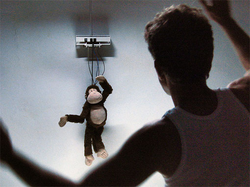 »Monkey Business« 2011 · Interaktive Installation (Zusammenarbeit mit Jan M. Sieber) · Größe variabel · Kinect Sensor · Computer · Microcontroller · elektronische Bauteile · Servomotoren · Stahl · Plüschaffe