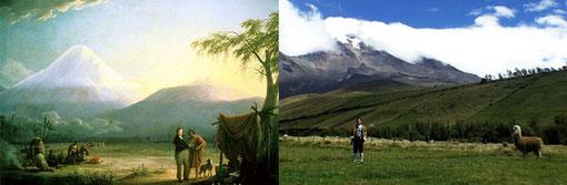 """Alexander Von Humboldt y Aimé Bonpland en el volcán Chimborazo"" por Friedrich Weitsch, 1810 / ""Humboldt_2.0 en el volcán Chimborazo"" still de video por Mayra Estévez"