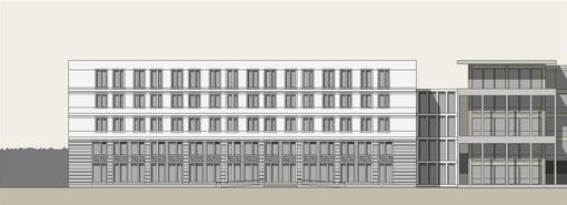 Gesamtansicht Erweiterungsbau, Verbinder, Bestandsgebäude (Würfelhaus)