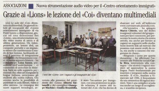 """""""Il giornale di Vimercate"""" del 10.02.2010"""