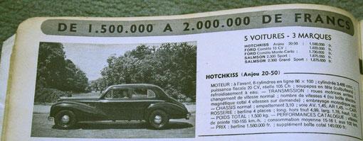 Descriptif et photo de l(Hotchkiss Anjou 1954