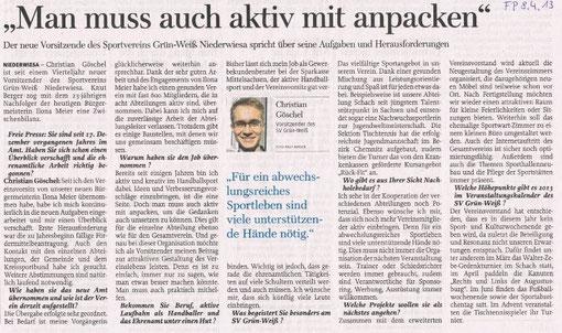 Freie Presse vom 08.04.2013
