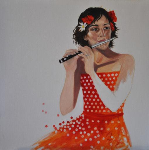 peinture-art-fanfare-big-band-les-ravis-de-carcarie-femme-robe-à-pois-rouge