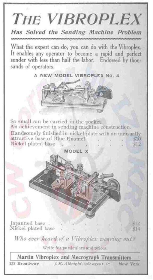 Fig. 9 - Pubblicità d'epoca con vendita in contemporanea di tasti Viboplex e Mecograph.