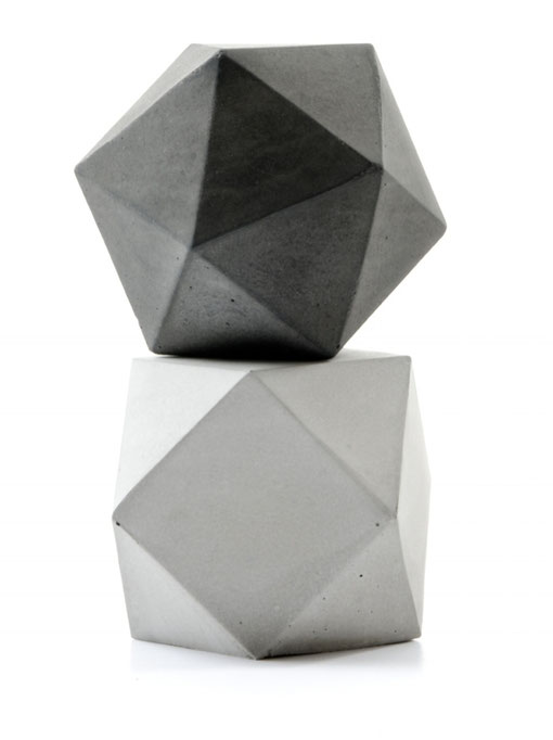 Concrete Icosahedron and Cuboctahedron Modular Sculpture Set by PASiNGA