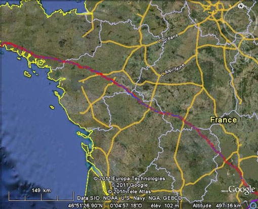 Trajet effectué (en rouge) 809kms!