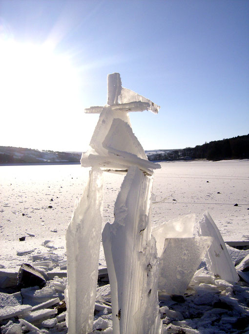 ice sculpture - ice man, made in Yorkshire by Kenny Jenkins and Jacky Flemking