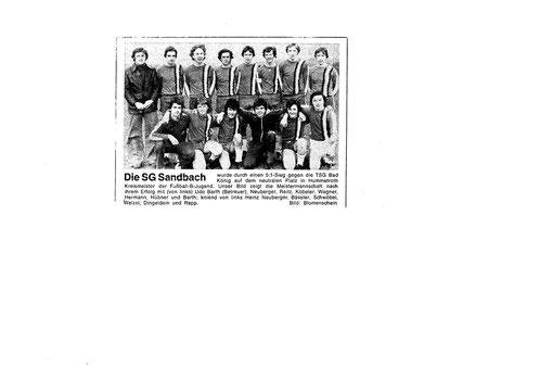 SGS - B-Jugend Kreismeister 1975