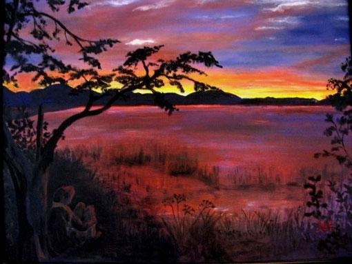 Sonnenuntergang in warmen Farben.