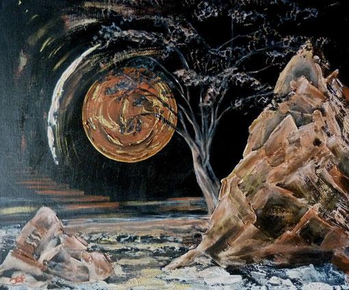 Braungold   60x50 cm  Leinwand