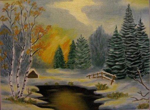 Winterzeit    30x40 cm  Oelfarbe