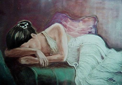 schlafendes Mädchen   50x60 cm  Pastellkreide