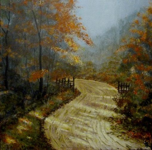 Waldweg  60x60cm  Acryl auf Leinwand