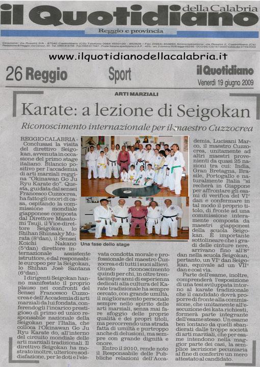 Articolo sul Quotidiano della Calabria uscxito il 19 / 06 / 2009