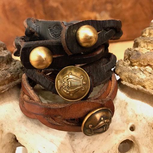 leatherbracelet bronce mensworld