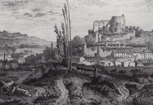 """Le château de Langoiran dessiné par Léo Drouyn (""""La Guienne militaire"""", 1865)"""