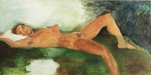 """Eva Hradil, """"28.7.2005"""" aus """"Männerlandschaften"""", 100 x 200 cm, Pigmente und Acrylbinder auf LW"""