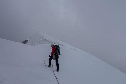 Weissmies Nordgrat, Weissmies N-Grat, Firngrat, Spalte, Gipfelspalte, Wallis, Hochtour