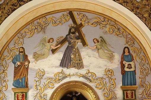Detalle de la decoración pictórica realizado por D.Ignacio Valbuena, tras la última restauración.