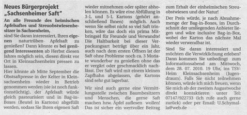 Ankündigung im Nachrichtenblatt 23.07.2010