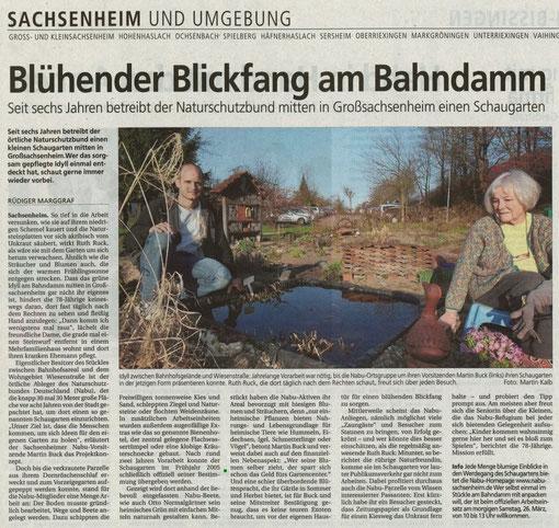 Bietigheimer Zeitung berichtet über den NABU-Schaugarten am 25. März 2011