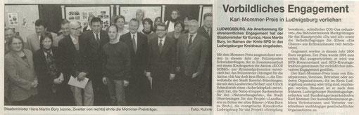 Stuttgarter Zeitung vom 20.03.2004 über Verleihung Karl-Mommer-Preis für NABU-Garten