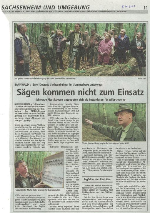 Bietigheimer Zeitung von 08.10.2001 über Führung im Bannwald Häfnerhaslach