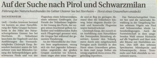 Ludwigsburger Kreiszeitung vom 16.05.2007 über Naturführung am Unteren See bei Horrheim