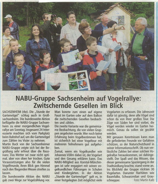 BZ vom 23.05.2005 über NABU-Vogelrallye mit Christoph Völlm