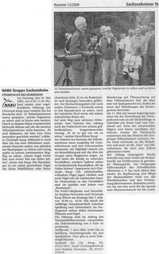 """Nachrichtenblatt 2009/12 über Vogelkundliche Führung mit Christoph Kauf am """"Unterer See"""""""