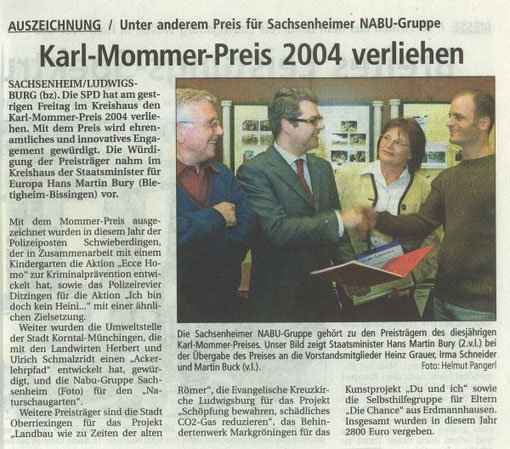 BZ vom 20.03.2004 über Verleihung Karl-Mommer-Preis für NABU-Garten