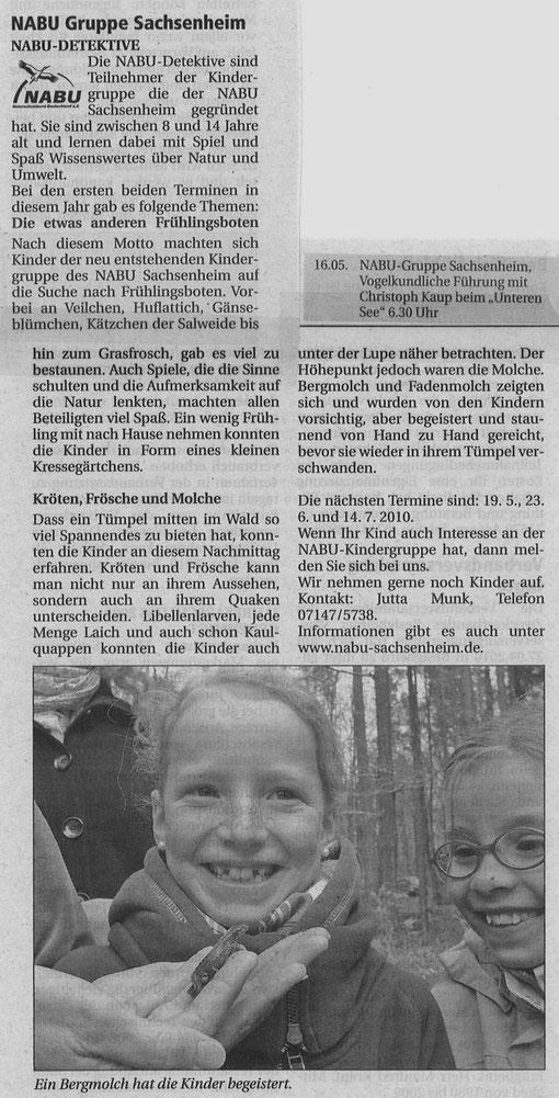 Nachrichtenblatt 2010/11 über NABU-Detektive