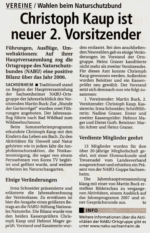 Bietigheimer Zeitung über NABU-Jahreshauptversammlung vom 07.02.2007