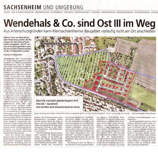 Presseartikel der BZ vom 26.03.2009 zu Kleinsachsenheim Ost III