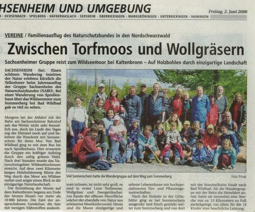 Bietigheimer Zeitung vom 02.06.2006 über Jahresausflug nach Bad Wildbad