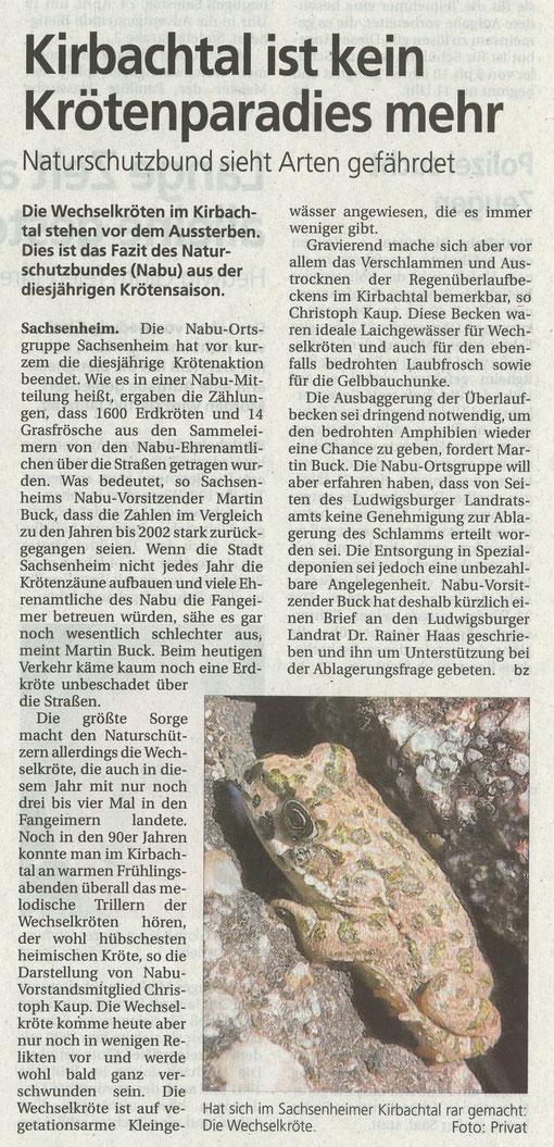 Bietigheimer Zeitung über Wechselkröte vor dem Aussterben vom 24.04.2010