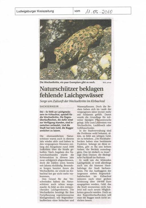 Ludwigsburger Kreiszeitung über Wechselkröte vor dem Aussterben vom 11.05.2010