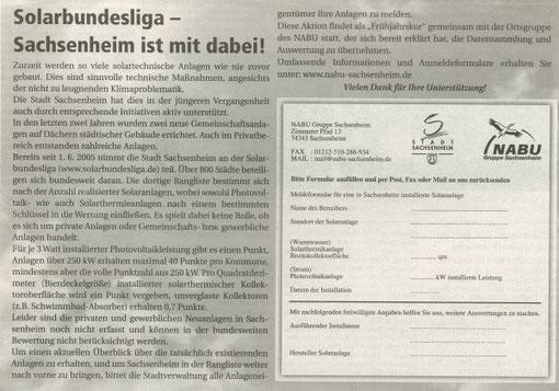 Meldeformular im Nachrichtenblatt für die Solarbundeslige vom 04.05.2007