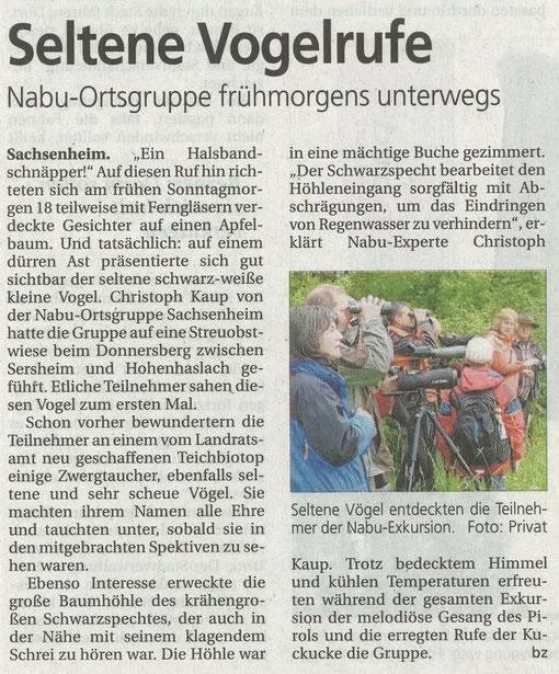Bietigheimer Zeitung am 21. Mai 2010 über Führung mit Christoph Kaup amm Unterer See