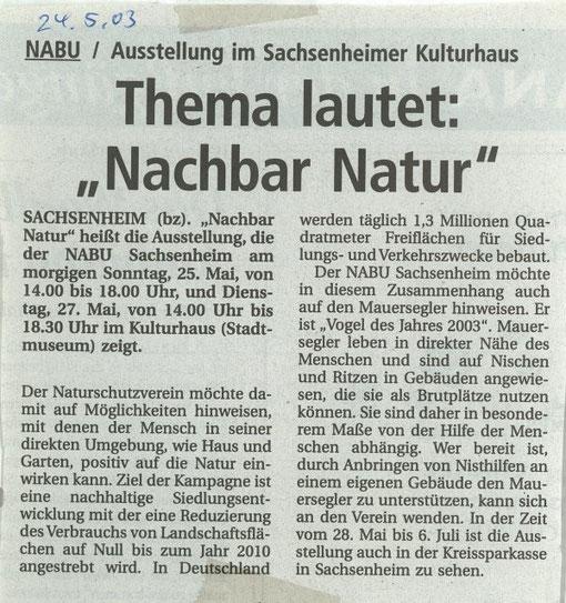 24. Mai 2003 BZ Ankündigung Ausstellung Kulturhaus - Nachbar Natur am 25.-27- Mai 2003