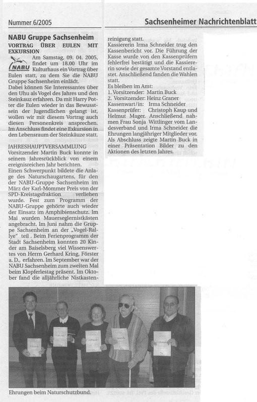 1. April 2005 NB Bericht Mitgliederversammlung - Einladung Steinkauzvortrag 9. April 2005