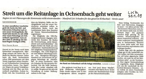 LKZ über Stellungnahme VRS zu Reitanlage Aucht vom 30.01.2009