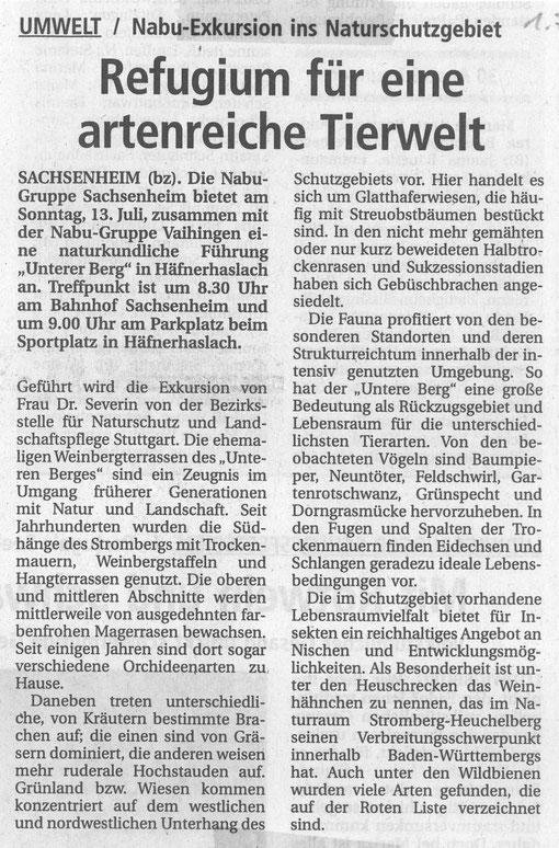 1. Juli 2003 BZ Ankündigung Führung Unterer Berg Häfnerhaslach am 13. Juli 2003