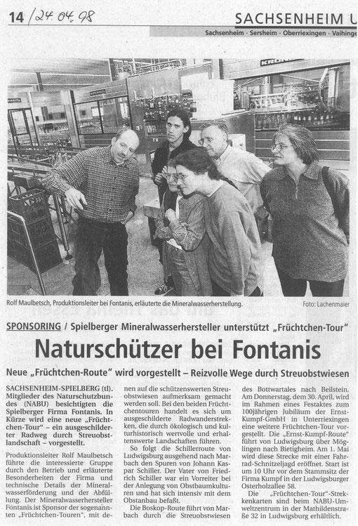 BZ am 24. April 1998 NABU zu Gast bei Fontanis wegen Start Früchtchen-Tour