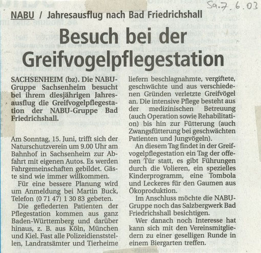 7. Juni 2003 BZ Ankündigung Jahresausflug - Greifvogelpflegestation Bad Friedrichshall