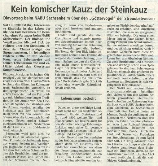 BZ vom 09.04.2005 über Steinkauzvortrag mit Michael Eik